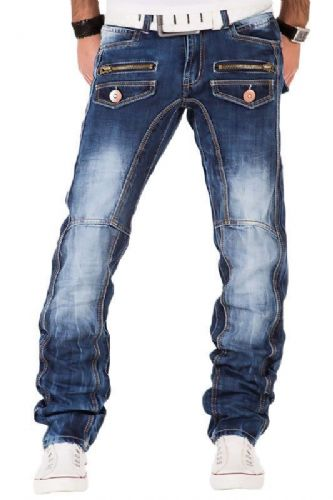 Kosmo Lupo Mens Designer Stonewash Jeans With Zip Pockets Slim Tapered Fit KM607